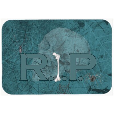 Rip Rest In Peace with Spider Web Halloween Kitchen/Bath Mat Size: 24 H x 36 W x 0.25 D