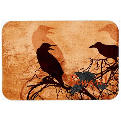 Beware Of The Crows Halloween Kitchen/Bath Mat Size: 24 H x 36 W x 0.25 D