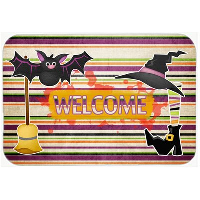 Witch Costume and Broom on Stripes Halloween Kitchen/Bath Mat Size: 24 H x 36 W x 0.25 D
