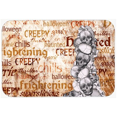 Creepy, Haunted and Frightful with Skulls Halloween Kitchen/Bath Mat Size: 24 H x 36 W x 0.25 D