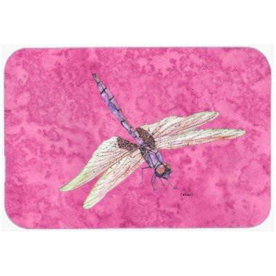 Dragonfly on Pink Kitchen/Bath Mat Size: 24 H x 36 W x 0.25 D