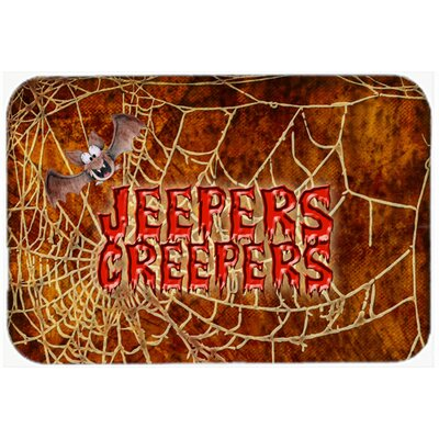 Jeepers Creepers with Bat and Spider Web Halloween Kitchen/Bath Mat Size: 24 H x 36 W x 0.25 D