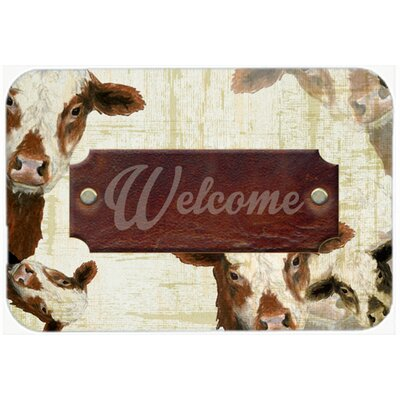 Welcome Cow Kitchen/Bath Mat Size: 24 H x 36 W x 0.25 D