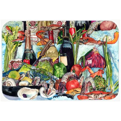 Wine Crab Shrimp and Oyesters Kitchen/Bath Mat Size: 24 H x 36 W x 0.25 D