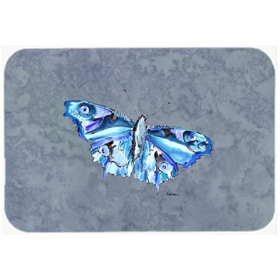 Butterfly on Gray Kitchen/Bath Mat Size: 24 H x 36 W x 0.25 D