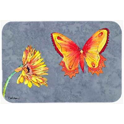Gerber Daisy and Buttefly Kitchen/Bath Mat Size: 24 H x 36 W x 0.25 D