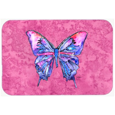 Butterfly on P Kitchen/Bath Mat Size: 20 H x 30 W x 0.25 D, Color: Pink