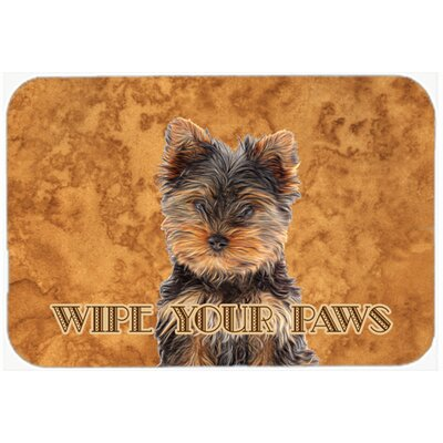 Yorkie Puppy / Yorkshire Terrier Wipe Your Paws Kitchen/Bath Mat Size: 24 H x 36 W x 0.25 D