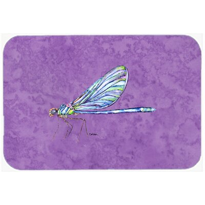 Dragonfly on Purple Kitchen/Bath Mat Size: 24 H x 36 W x 0.25 D