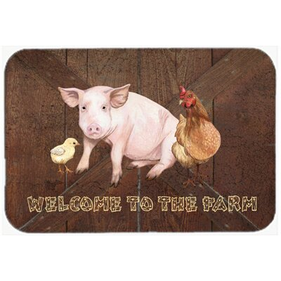 Welcome To The Farm with The Pig and Chicken Kitchen/Bath Mat Size: 24 H x 36 W x 0.25 D