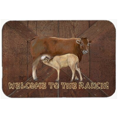 Welcome To The Ranch with The Cow and Baby Kitchen/Bath Mat Size: 24 H x 36 W x 0.25 D