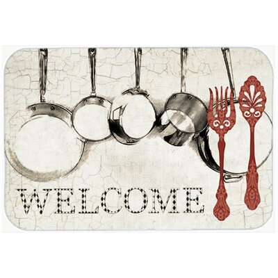 Pots and Pans Welcome Kitchen/Bath Mat Size: 24 H x 36 W x 0.25 D