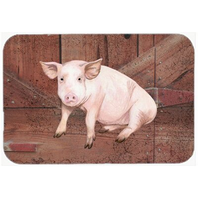 Pig At The Barn Door Kitchen/Bath Mat Size: 24 H x 36 W x 0.25 D