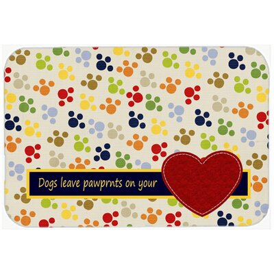 Dogs Leave Pawprints on Your Heart Kitchen/Bath Mat Size: 24