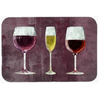 Three Glasses Of Wine Purple Kitchen/Bath Mat Size: 24 H x 36 W x 0.25 D
