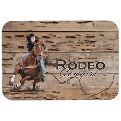Rodeo Cowgirl Barrel Racer Kitchen/Bath Mat Size: 24 H x 36 W x 0.25 D