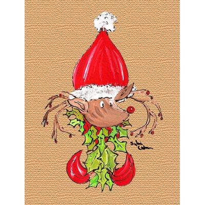 Christmas Reindeer Fleur de lis 2-Sided Garden Flag