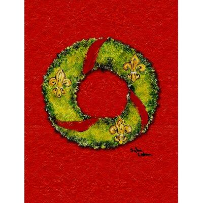 Christmas Wreath Fleur de lis 2-Sided Garden Flag