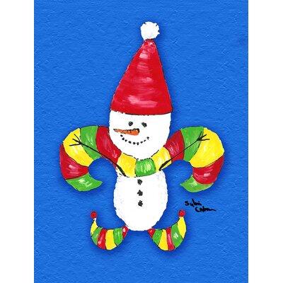 Christmas Snowman Fleur de lis 2-Sided Garden Flag