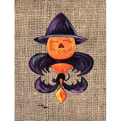 Halloween Pumpkin Bat Fleur de lis 2-Sided Garden Flag