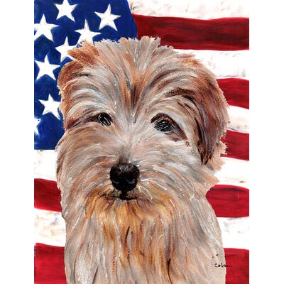 Norfolk Terrier with American Flag USA 2-Sided Garden Flag