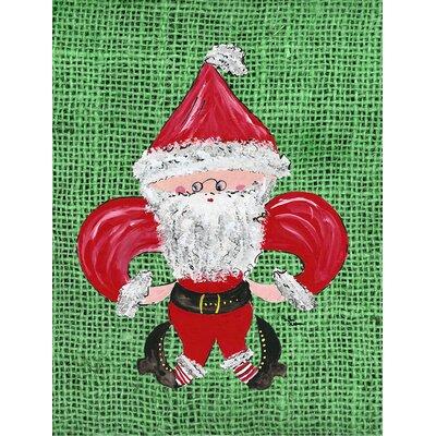 Christmas Santa Fleur de lis House Vertical Flag