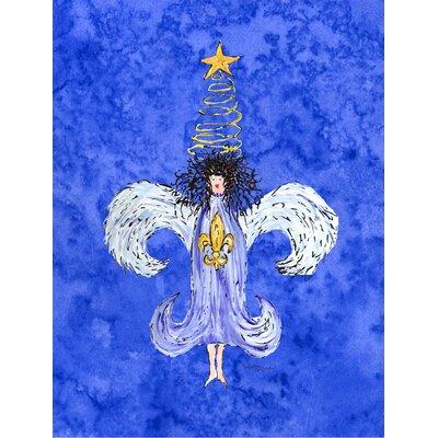 Christmas Angel Fleur de lis House Vertical Flag