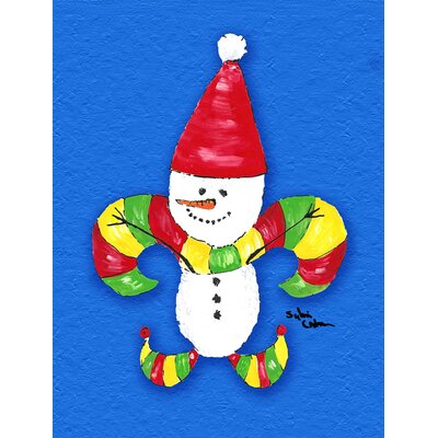 Christmas Snowman Fleur de lis House Vertical Flag