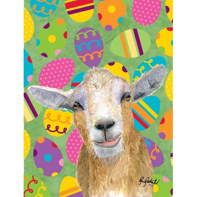 Eggtravaganza Goat Easter House Vertical Flag