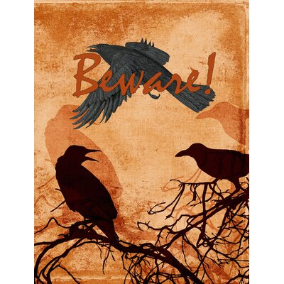 Beware of the Black Crows Halloween House Vertical Flag