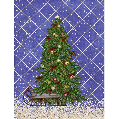 Christmas Tree Blue House Vertical Flag