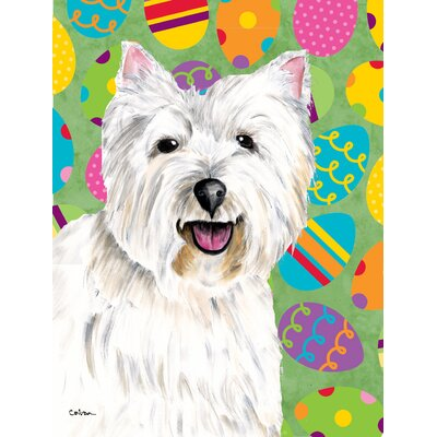 Westie Easter Eggtravaganza House Vertical Flag