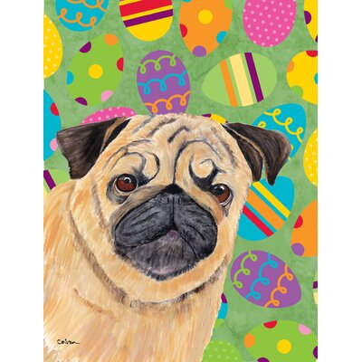 Pug Easter Eggtravaganza House Vertical Flag