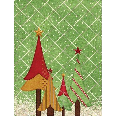 Folk Art Christmas Trees House Vertical Flag