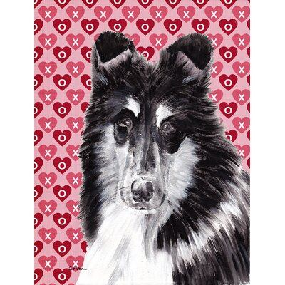 Black and White Collie Hearts and Love House Vertical Flag