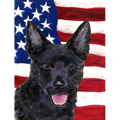 USA American Flag with Australian Kelpie House Vertical Flag
