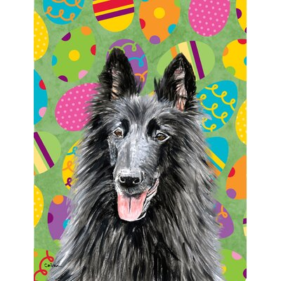 Belgian Sheepdog Easter Eggtravaganza House Vertical Flag