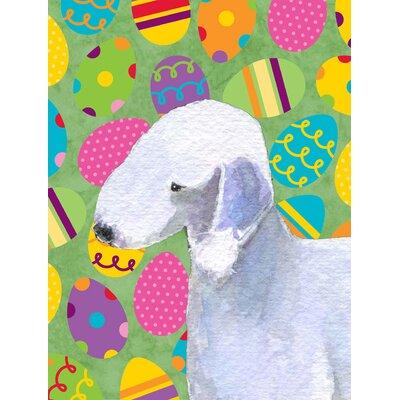 Bedlington Terrier Easter Eggtravaganza House Vertical Flag