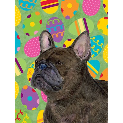 French Bulldog Easter Eggtravaganza House Vertical Flag