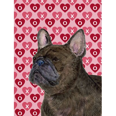 French Bulldog Hearts Love Valentine's Day House Vertical Flag