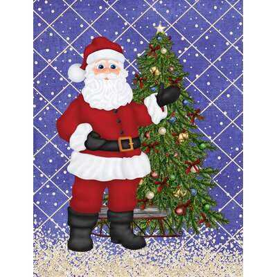 Santa Claus and Christmas Tree 2-Sided Garden Flag