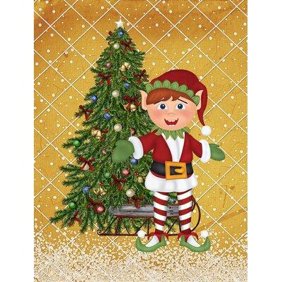 Santa's Elf and Christmas Tree 2-Sided Garden Flag