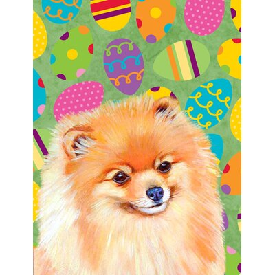 Pomeranian Easter Eggtravaganza 2-Sided Garden Flag