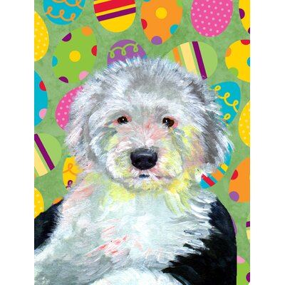 Old English Sheepdog Easter Eggtravaganza 2-Sided Garden Flag