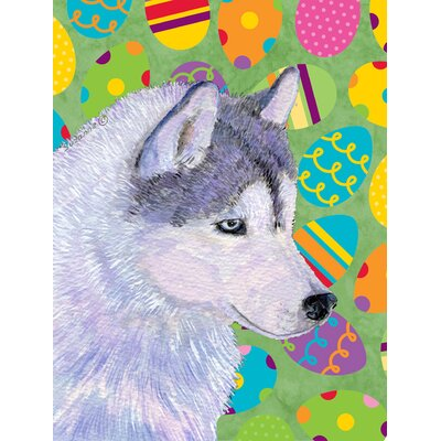 Siberian Husky Easter Eggtravaganza 2-Sided Garden Flag