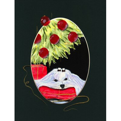 Christmas Tree with Maltese 2-Sided Garden Flag