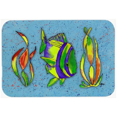 Tropical Fish Kitchen/Bath Mat Size: 20 H x 30 W x 0.25 D, Color: Blue