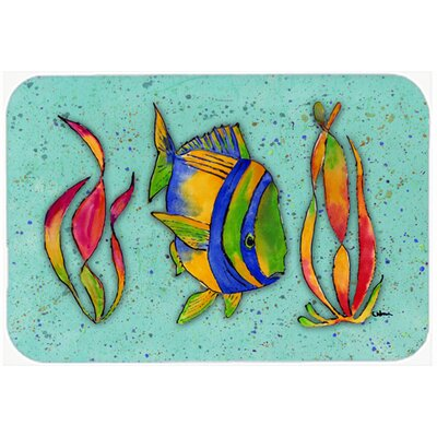 Tropical Fish Kitchen/Bath Mat Size: 20 H x 30 W x 0.25 D, Color: Teal