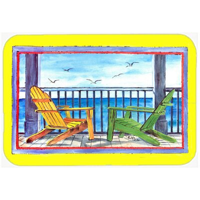 Adirondack Chairs Kitchen/Bath Mat Size: 24 H x 36 W x 0.25 D, Color: Yellow