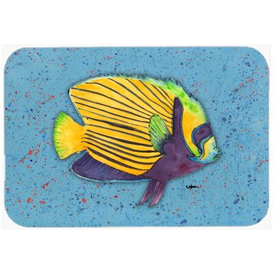Tropical Fish on Kitchen/Bath Mat Size: 24 H x 36 W x 0.25 D, Color: Blue